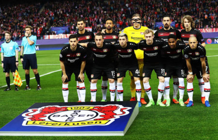 MADRID, SPAIN - MARCH 15: The Bayer Leverkusen team lines up for a photo before the UEFA Champions League Round of 16 second leg match between Club Atletico de Madrid and Bayer Leverkusen at Vicente Calderon Stadium on March 15, 2017 in Madrid, Spain.