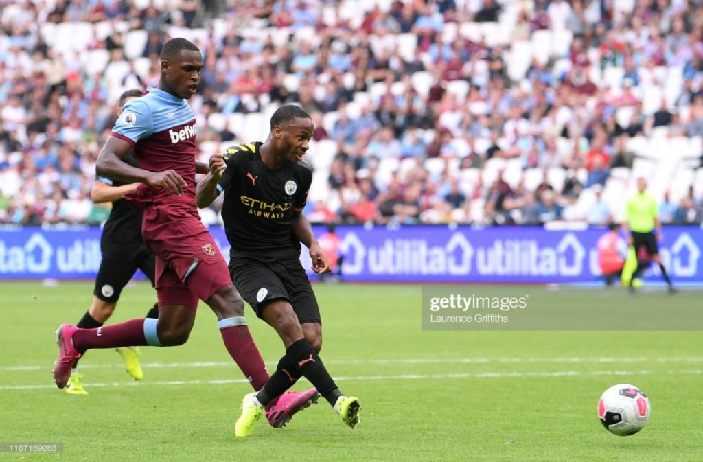 Raheem Sterling of Manchester City scores his team's fifth goal