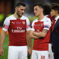BAKU, AZERBAIJAN - MAY 29: Sead Kolasinac and Mesut Ozil of Arsenal look dejected following their sides defeat in the UEFA Europa League Final between Chelsea and Arsenal at Baku Olimpiya Stadionu on May 29, 2019 in Baku, Azerbaijan. (Photo by Michael Regan/Getty Images)