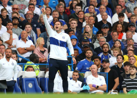 Lampard, Manager of Chelsea gives his team instructions during the Premier League match between Chelsea FC and Leicester City at Stamford Bridge