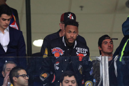 Neymar Jr. gestures from the stands during the Copa America Brazil 2019 quarterfinal match between Brazil and Paraguay at Arena do Gremio on June 27, 2019 in Porto Alegre