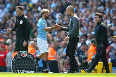 Josep Guardiola, Manager of Manchester City congratulates Sergio Aguero of Manchester City