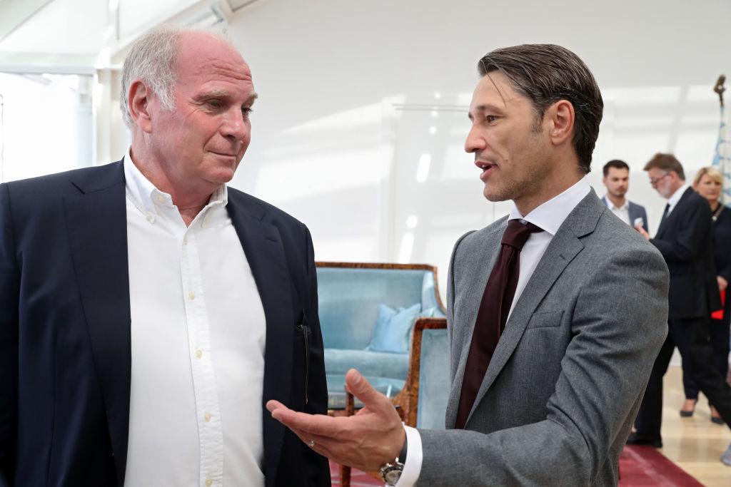 Bayern-Boss Uli Hoeneß (l.) und Trainer Niko Kovac bei einem Enpfang in der Bayerischen Staatskanzlei am 28. August 2019 in München.