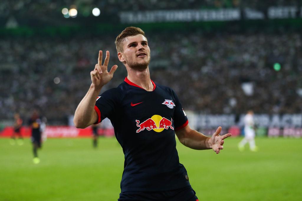 Fingerzeige: Timo Werner gelang bei Leipzigs 3:1 in Mönchengladbach ein Dreier-Pack.