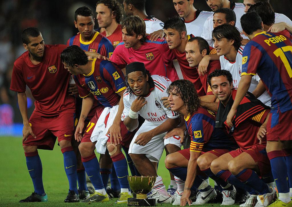 Ronaldinho bei der Rückkehr nach Camp Nou mit dem AC Mailand, 2010.