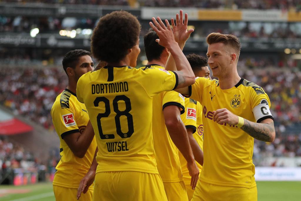 Das war die BVB-Welt in Frankfurt noch in Ordnung: Axel Witsel (m.) trifft zum 0:1 für die Borussia. Rechts: Marco Reus.