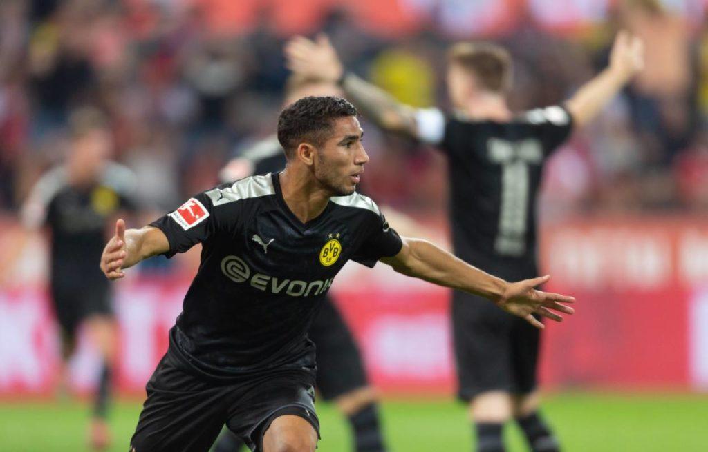 Achraf Hakimi nach seinem vorentscheidenden Treffer zum 2:1 für Borussia Dortmund am 23. August 2019 beim 1. FC Köln.