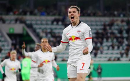 Raus mit dem ganzen Frust - Marcel Sabitzer erzielt das 2:0 für RB Leipzig beim Pokal-Kantersieg in Wolfsburg (6:1).