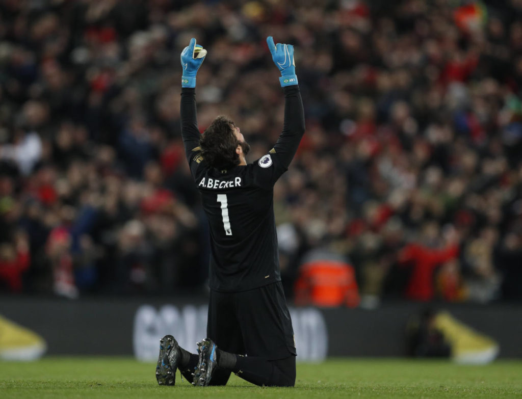Alisson Becker of Liverpool has the best save percentage of any goalkeeper in the Premier League this season