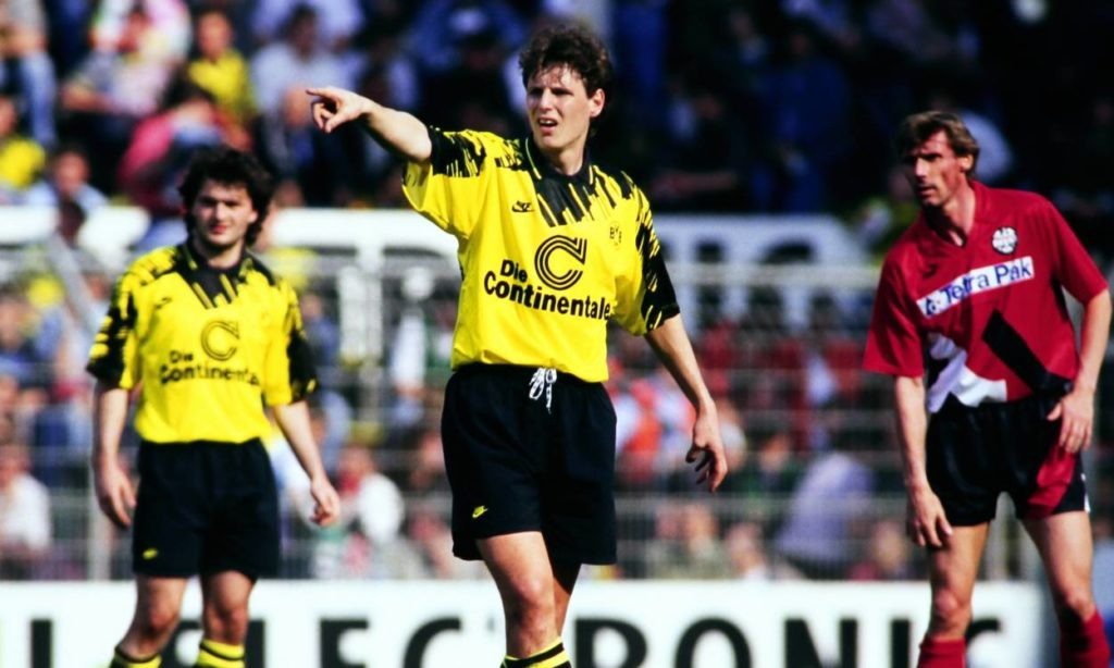 Fussball, Bundesliga, Saison 1993/1994, Bor. Dortmund - Eintracht Frankfurt; Flemming Poulsen (BVB).