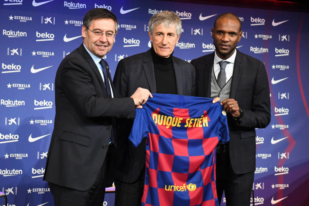 Quique Setien during his unveiling as new Barcelona manager