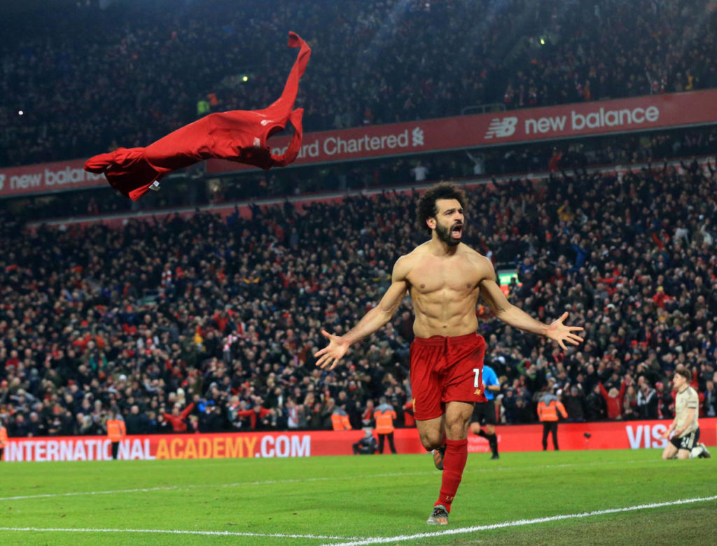 Salah after scoring for Liverpool against Manchester United