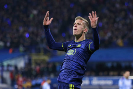 Dinamo Zagreb's Dani Olmo after scoring against Manchester City