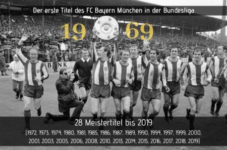 Die erste Bundesliga-Meisterschaft des FC Bayern München.