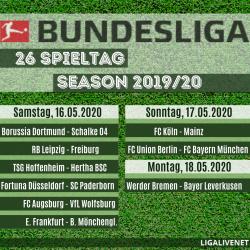 Bundesliga Spielplan 2019/20, 26. Spieltag