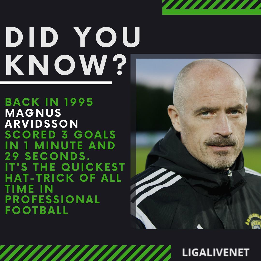 Magnus Arvidsson quickest hat-trick