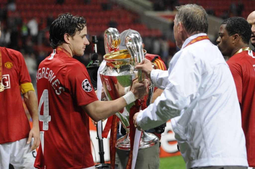 Owen Hargreaves gewann zwei Mal die Champions League. 2008 mit Manchester United (Foto, mit Sir Alex Ferguson, r.) und zuvor 2001 mit dem FC Bayern.